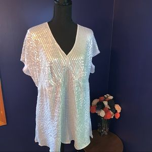 NWT Lane Bryant ss silver sequin blouse 14/16